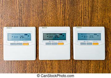 wall-mounted, panel de control, habitación, air-conditioning
