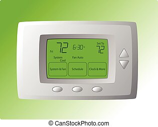 Wall Mounted Thermostat - Wall mounted Thermostat with green...
