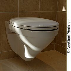 Wall mounted WC with sandy coloured tiles