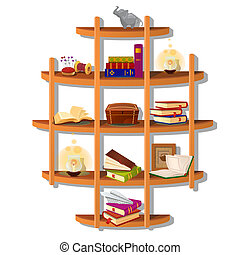Wall-mounted wooden shelf with books isolated on white background. Vector cartoon close-up illustration.