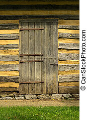 Wall of a Log Cabin with Doorway
