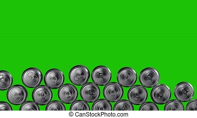 Wall of aluminium cans tumbling down on green background. ...