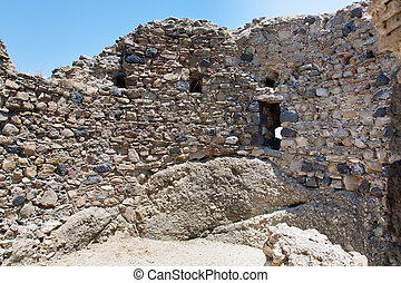 wall of ancient norman castle in Calatabiano, Sicily