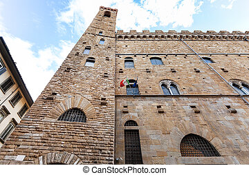 wall of Bargello palace in Florence city
