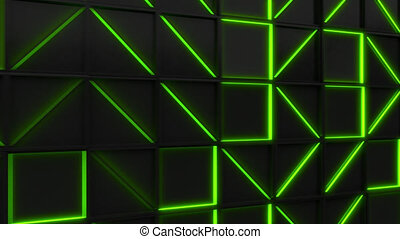 Wall of black rectangle tiles with green glowing elements....
