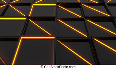 Wall of black rectangle tiles with orange glowing elements....