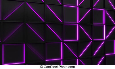 Wall of black rectangle tiles with purple glowing elements....