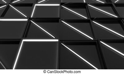 Wall of black rectangle tiles with white glowing elements....