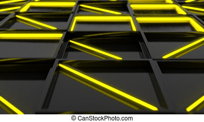 Wall of black rectangle tiles with yellow glowing elements....