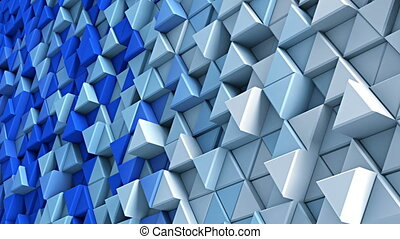 Wall of blue and white extruded triangles 3D render loopable