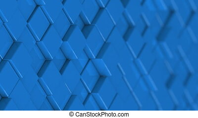Wall of blue cubes moving in a random pattern.