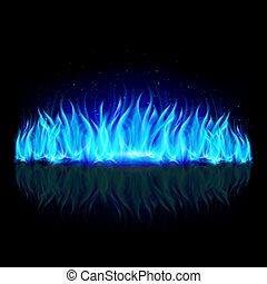 Wall of blue fire on black.