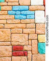 Wall of colored stones.