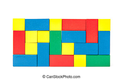 Wall of colorful building blocks