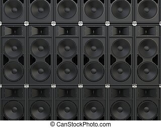 Wall of concert horn loudspeakers
