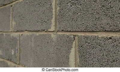 Wall of construction slagblocks - Building material. Slag...
