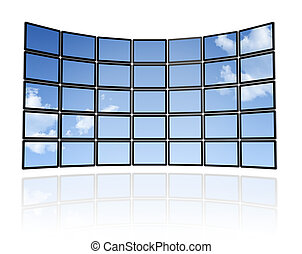 Wall of flat tv screens