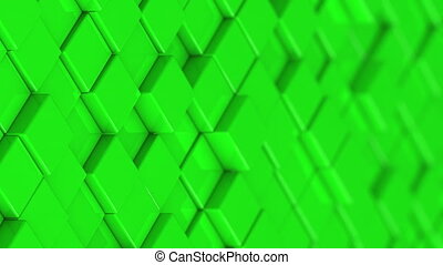 Wall of green cubes moving in a random pattern.