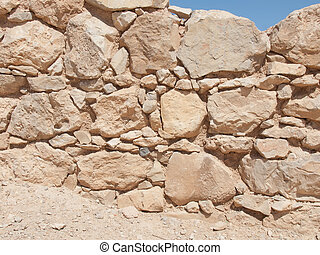 Wall of Herods castle in fortress Masada, Israel