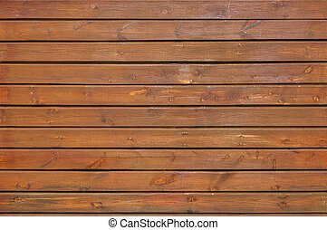 Wall of horizontal wooden boards in brown tone