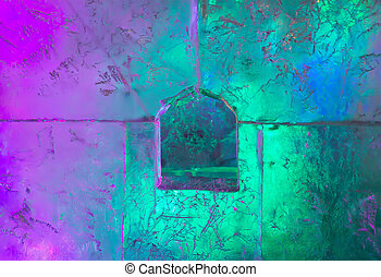 Wall of ice with a window
