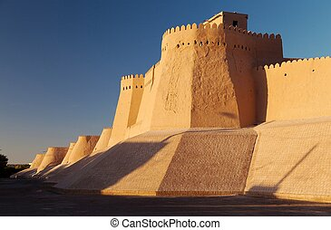 wall of Itchan Kala (Ichon Qala) - Khiva (Chiva, Heva, Xiva, Chiwa, Khiveh) - Xorazm Province - Uzbekistan - Town on the silk road