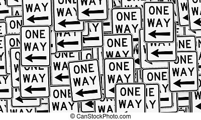 Wall of Left Pointing One Way Signs