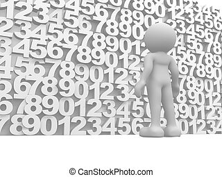 Wall of numbers - 3d people, human character on a wall of...