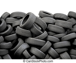 car tires - Wall of old car tires on white background