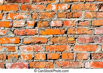 Wall of old red brick