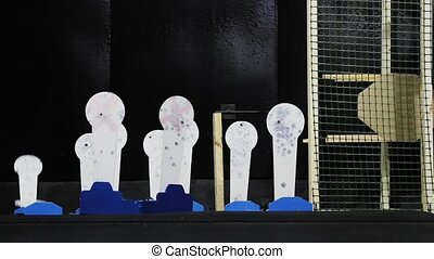 Wall of outdoor shooting gallery or shooting target