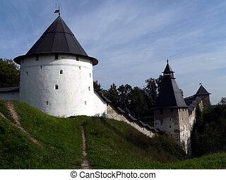monastery - Wall of Pechora monastery. Russia, Pskov region.