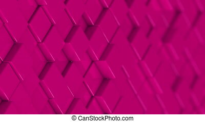 Wall of pink cubes moving in a random pattern.