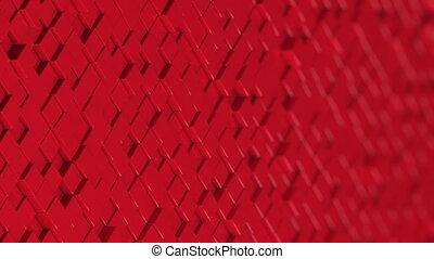 Wall of red cubes moving in a random pattern.