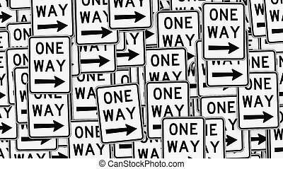 Wall of Right Pointing One Way Signs