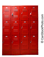 Wall of school gym lockers in bright red, isolated on white ...