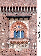 Wall of Sforza castle in Milan, Italy