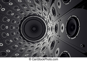 Wall of speakers. - A huge round wall made of black...