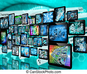 wall of tablets - Many abstract images on the theme of...