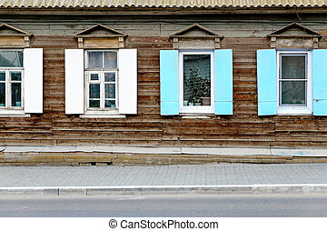 Wall of the aged wooden hut in Astrakhan, Russia