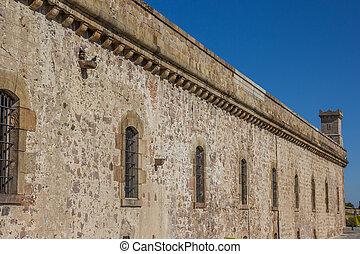Wall of the castle Montjuic in Barcelona