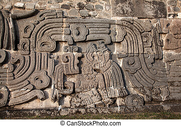 Wall of the Temple of the Feathered Serpent in Xochicalco -...