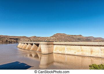 Wall of the Vanderkloof Dam in the Orange River