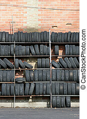 wall of tires, vertical