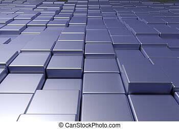 wall of uneven tiles brick or cubes, 3d illustration - wall...