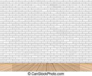 Wall of white brick and wooden floor
