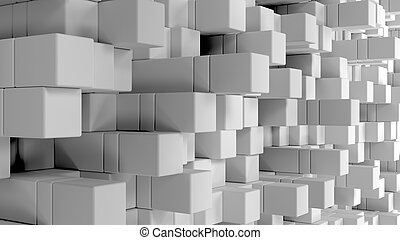 Wall of white cubes