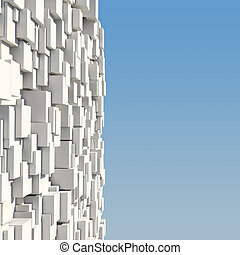 Wall of white cubes against the blue sky