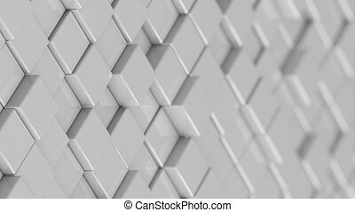 Wall of white cubes moving in a random pattern.