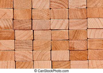 Wall of wooden blocks